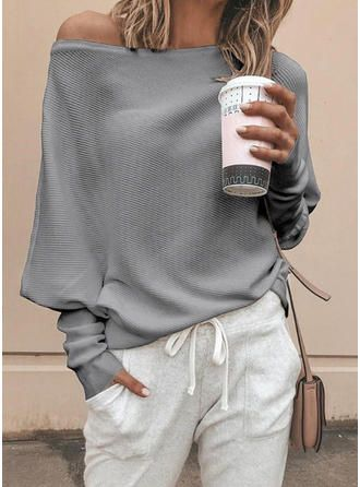 Suéteres sólidos de un solo hombro (1002254065)