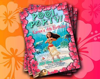 Descarga inmediata de la invitación de Moana; Fiesta en la piscina de Moana; Fiesta en la piscina temática Moana; Invitación del cumpleaños de Moana; Invitación fiesta de piscina de Moana;