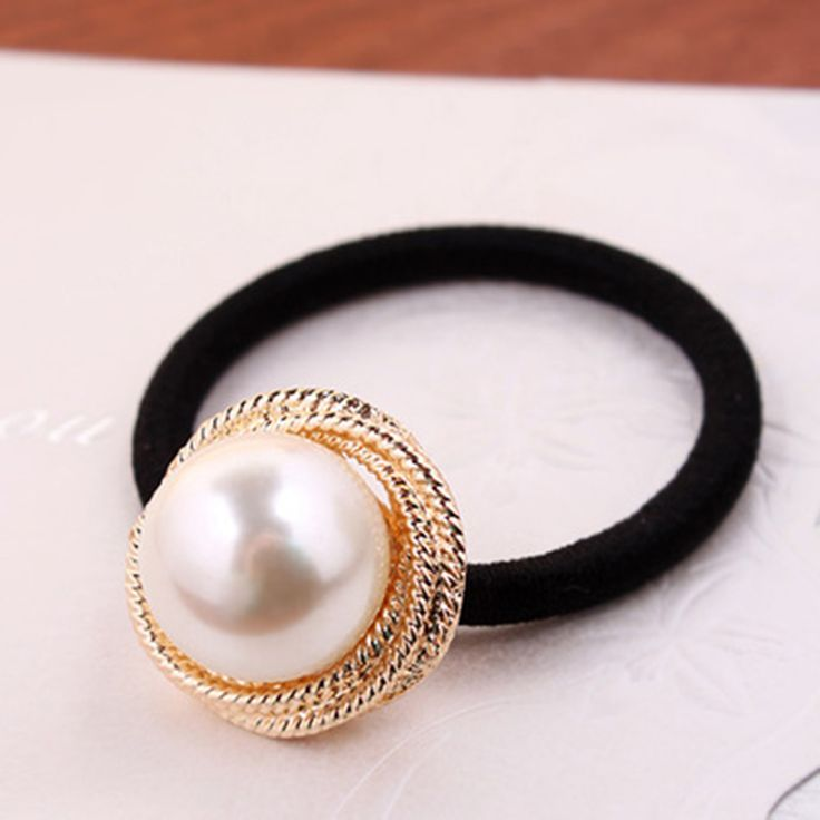 New Fashion Big Simulated Pearl Hair Band Elastic Ponytail Hair Holder Tie Accessories For Women Headwear