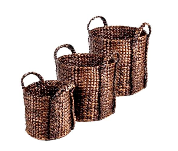 Công Ty Home24h: Brown Washed Oval Basket Water Hyacinth - Home24h Vietnam Supplier