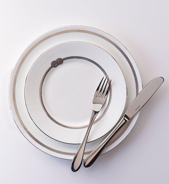 Wedgwood plates, Noritake cutlery