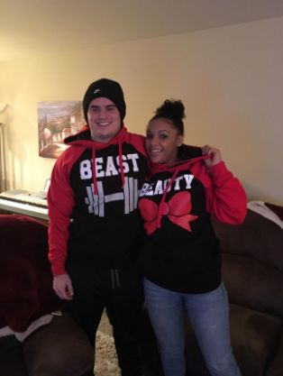 Couple Matching Beast and Beauty Two-tone Raglan Hoodie Pullover Hooded Sweatshirt ------------------------ couple shirt, couple hoodie, matching hoodie, gift ideas, anniversary gift ideas, relationship goals, couple goals, husband, wife, girlfriend, boyfriend, couple wear