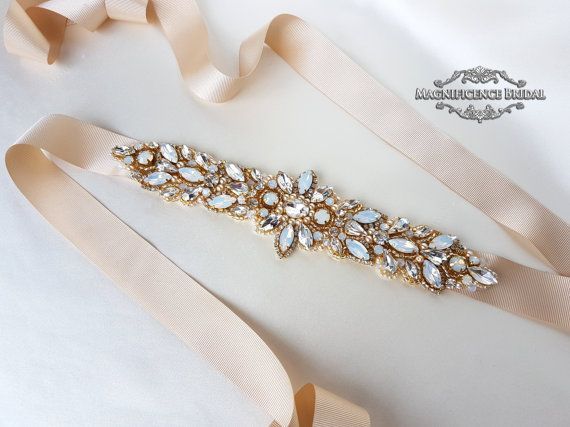 Gold bridal belt, luxury bridal sash, diamante belt, opal belt, bridal belt, couture belt, hand beaded belt, wedding belt, gold bridal sash, gold wedding belt, wedding sash, gold belt, champagne belt