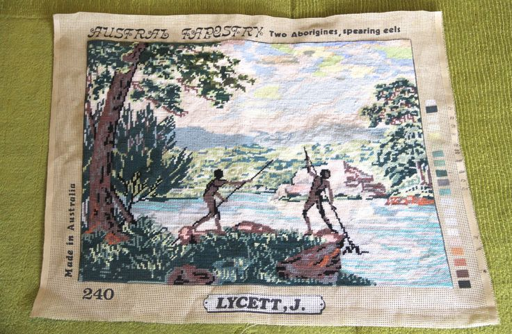 """VINTAGE 1960's Completed Tapestry """"Joseph Lycett"""" Two Aborigines, spearing eels. by VintageCollateral on Etsy"""
