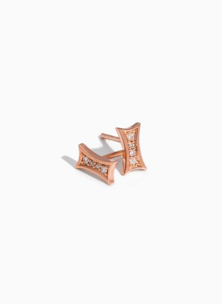 18k Rose Gold Plated Diamond Earrings | Kennedy Studs | Women | Kit and Ace