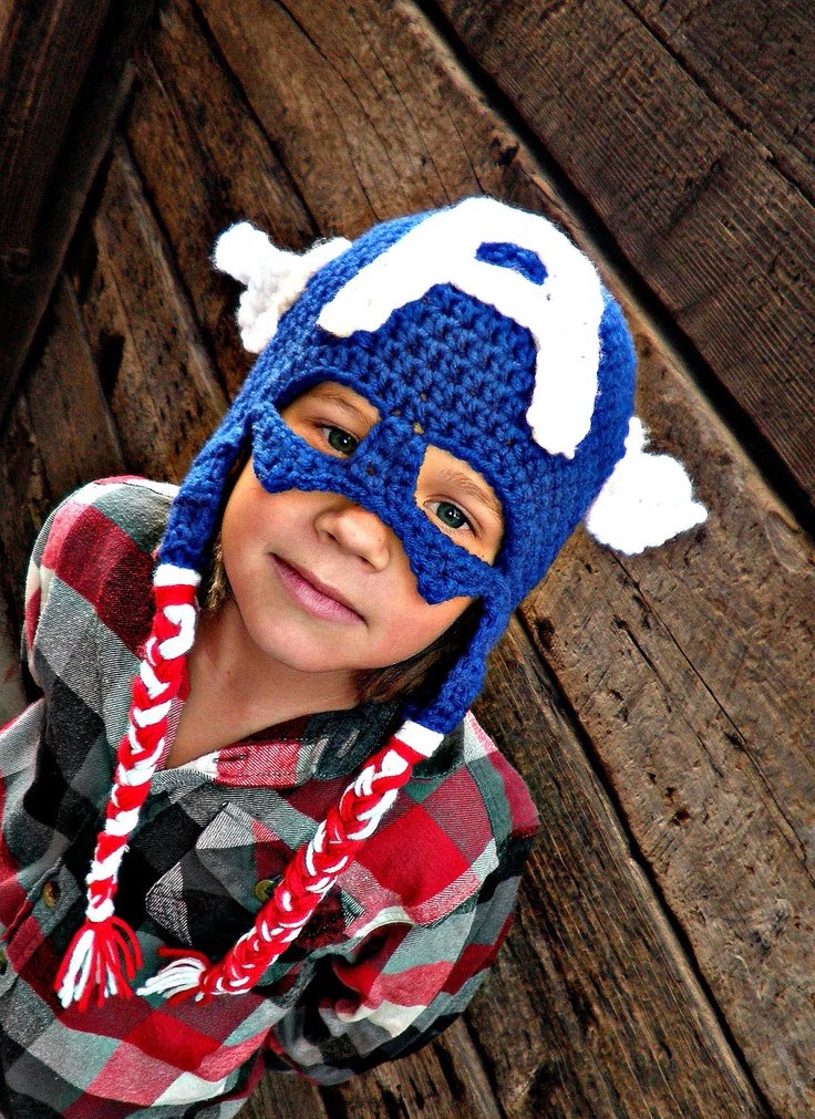 Captain America hat on Etsy. LOVE!!