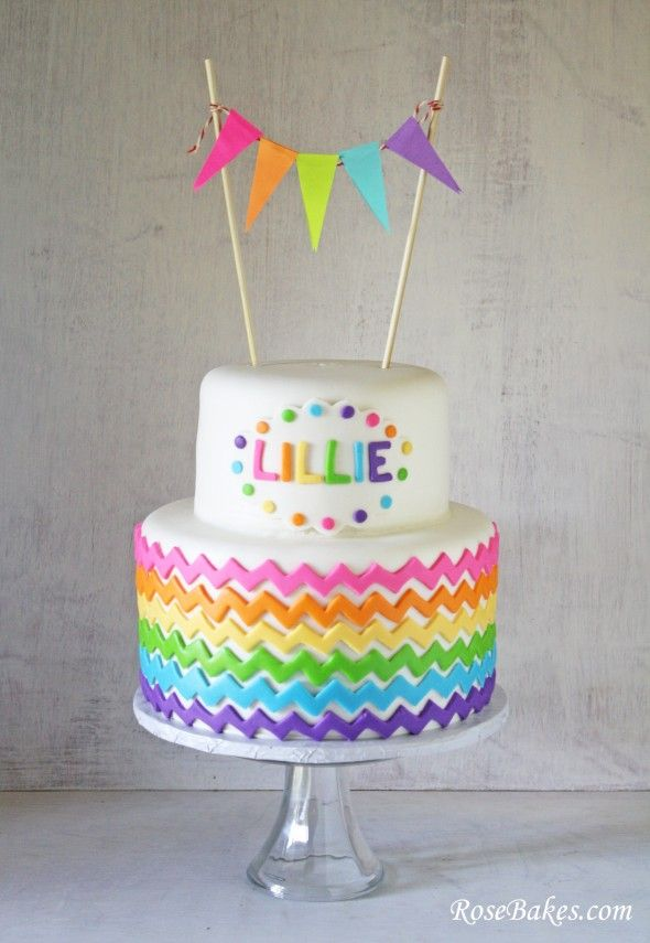 Happy St. Patrick's Day - Rainbow Chevron Cake