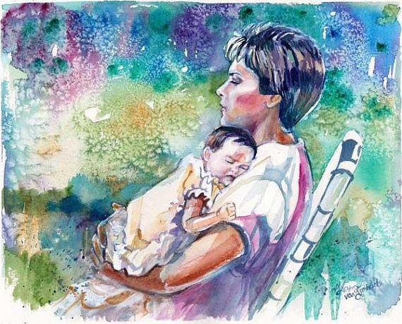 Nursery Room Art Mom and Baby Special Portrait: Custom