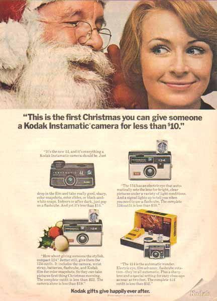 Kodak Instamatic Cameras Christmas 1969 Ad - Santa Claus - Sold
