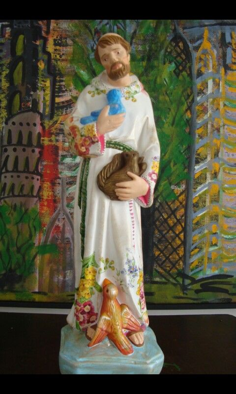 São Francisco de Assis em gesso, 32 cm, pintado a mão e decoupage