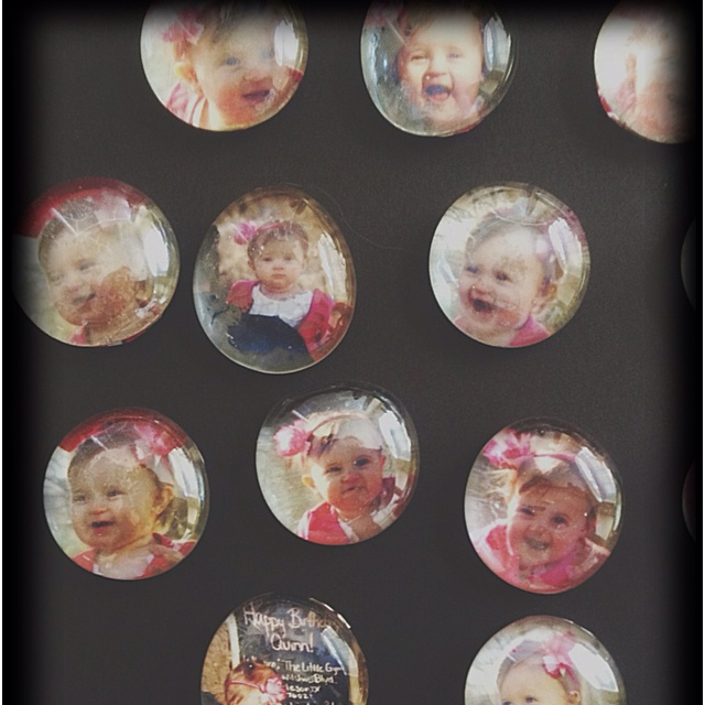Magnets made with glass accents from the dollar store. How cute would those be for party favors for grownups!