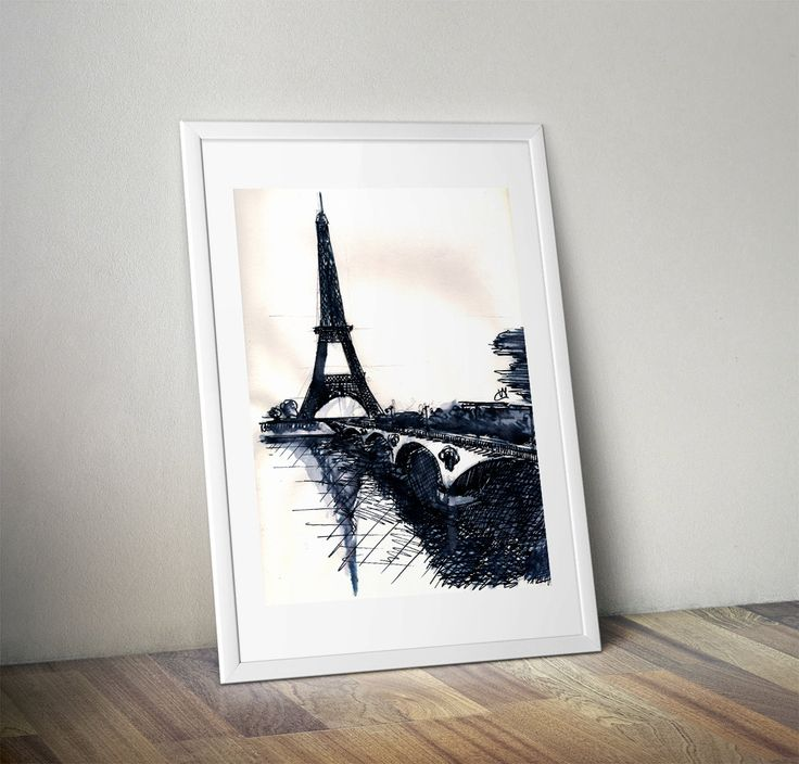 Art by V.M. - digital copy - home decor - signed hand-drawing of Eiffel Tower | watercolor marker black pen and brush | Instant Download | by BrickInTheWallArt on Etsy