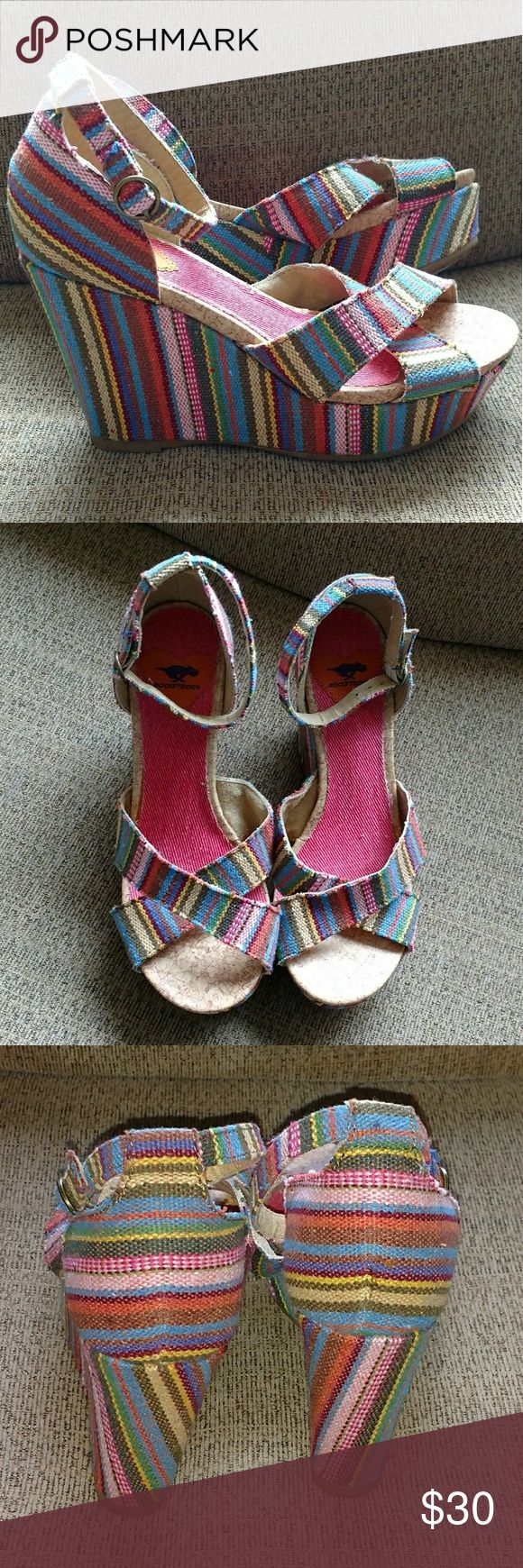 Rocket Dog Clara tan Guatemala stripe wedge sandal Colorful Stripe wedge sandals with criss cross open toe. Cupped heel with adjustable ankle strap. Rocket Dog Shoes Wedges