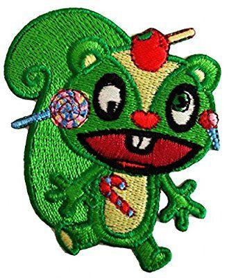 Aufnäher / Bügelbild - Happy Tree Friends ''Flippy'' Comic - grün - 6,5 x 7,0 cm - Patch Aufbügler Applikationen zum aufbügeln Applikation Patches Flicken