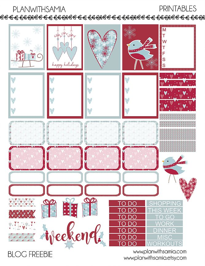 It's been a while but I have a holiday freebie for you! Here is a cute blue and red holiday set for you.Please note this printable is only for Personal use,&nb