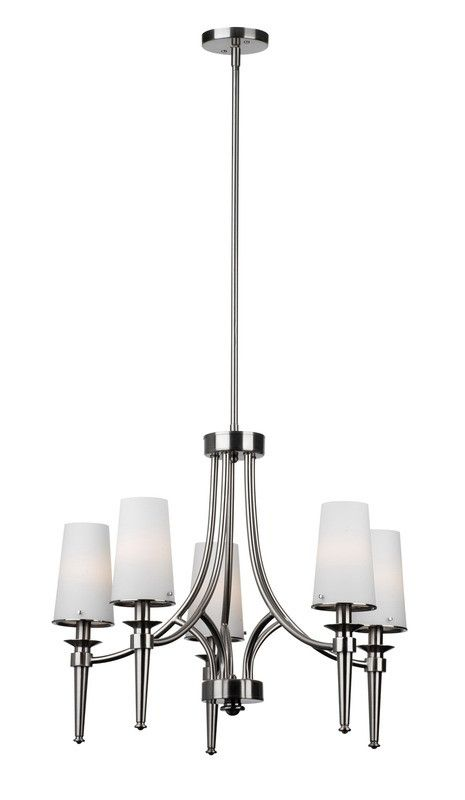 Forecast Lighting F1780-36 Torch Collection Five Light Chandelier in Satin Nickel Finish | Quality Discount Lighting | Major Brands at 60-80% Off