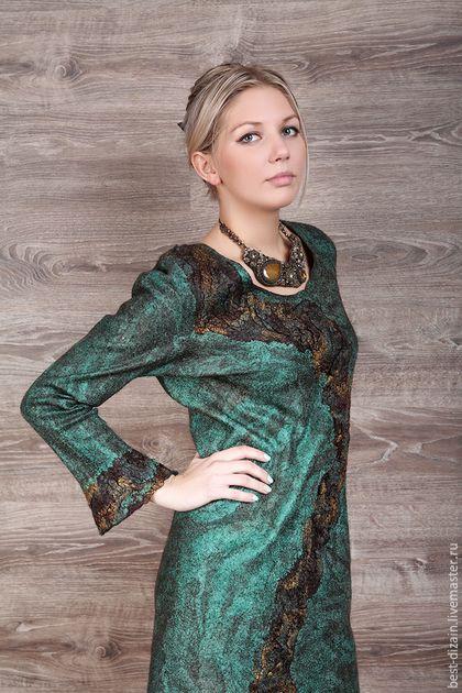 """Платья ручной работы. Ярмарка Мастеров - ручная работа. Купить Платье """"Малахит"""". Handmade. Зеленый, шерсть меринос"""