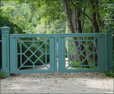 Chippendale Green Entrance Gate | Entrance Gates, Wood Gates, and more from Walpole Woodworkers
