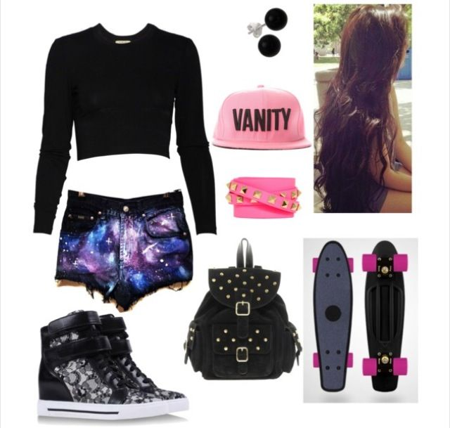 Skater girl outfits, Skater outfits and Galaxy shorts on ...
