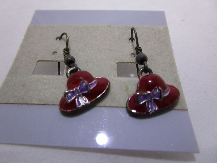 Red Hat Society Ruby Red Enameled with Purple Band & Bow Dangle Earrings NEW #Unbranded #Dangle
