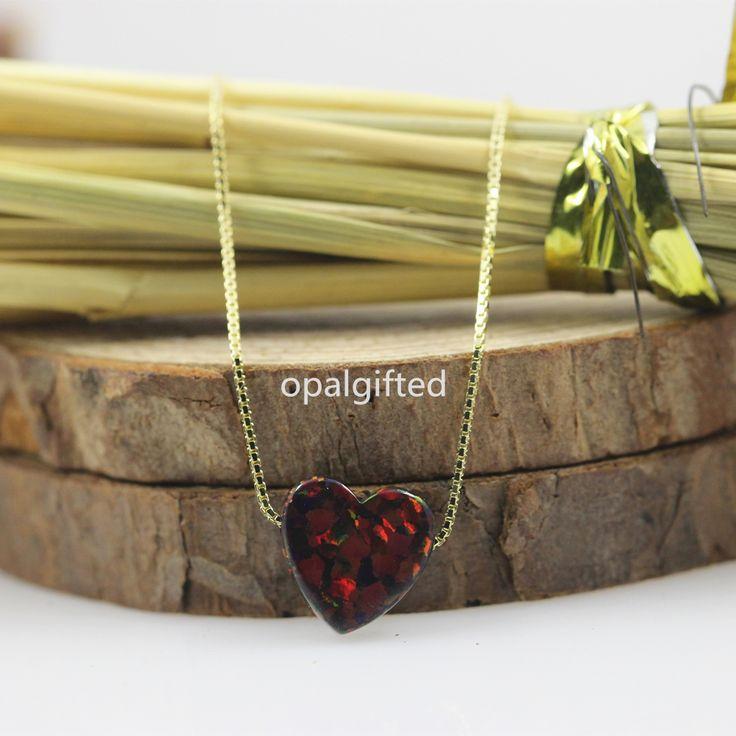 (1 шт./лот) OP71 черное сердце синтетический 10 мм сердце моды опал сердце ожерелье с S925 серебряная шкатулка цепи ожерелье для модных Gifeкупить в магазине opalgifted StoreнаAliExpress