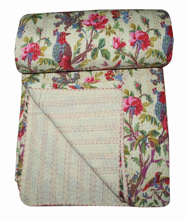 Handmade Kantha Quilt Cotton Bedspread Twin Size Floral Pink Bed Cover BIRD@ #Silkgramexports #ArtDecoStyle