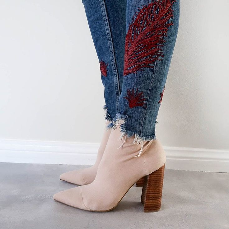 Ripped embroidered denim and Tony Bianco nude sock boots, winter style @thelustlife_