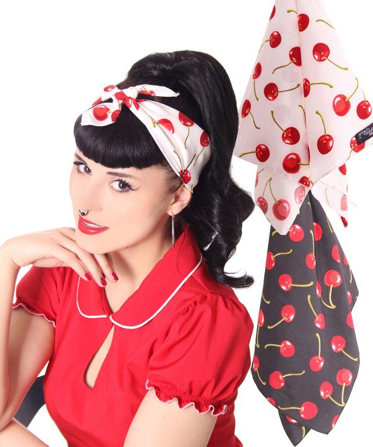 cute cherry bandana a must for every pin up rockabilly girl 39 s summer 50s frisuren kirschen. Black Bedroom Furniture Sets. Home Design Ideas