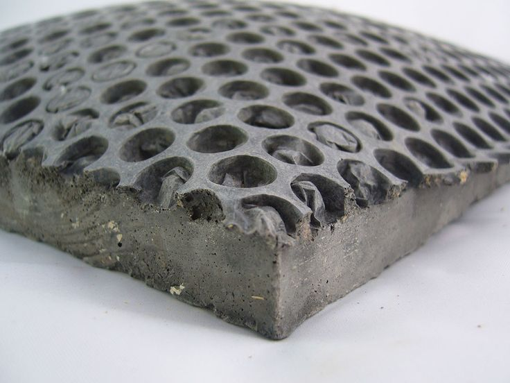 Concrete moulded on bubble wrap. Great idea for garden stepping stones.