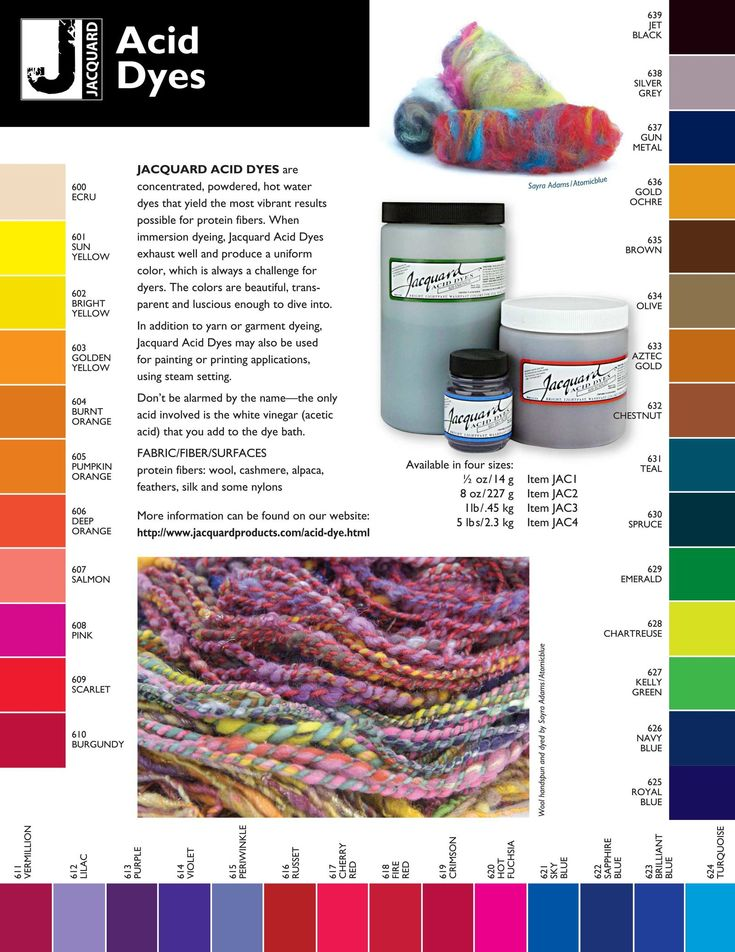 Jacquard Acid Dyes For Wool & Protein Fiber - Jacquard Acid Dyes are bright, light fast and color fast.Acid dyes are made color fast or set by adding vinegar, which is acetic acid, hence the name acid dye.These dyes can be used on any protein ...
