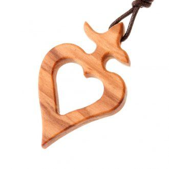 Heart shaped pendant with olive wood cross | online sales on HOLYART.co.uk