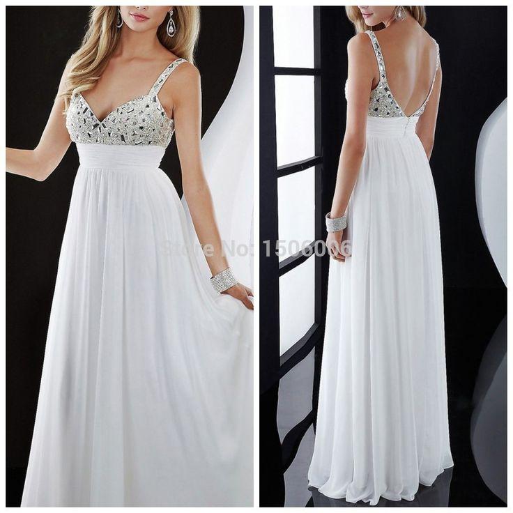 Белые спинки сексуальные шифоновые этаж пром платья 2015 рукавов бретельках вечерние платья 2015 приходят MA14