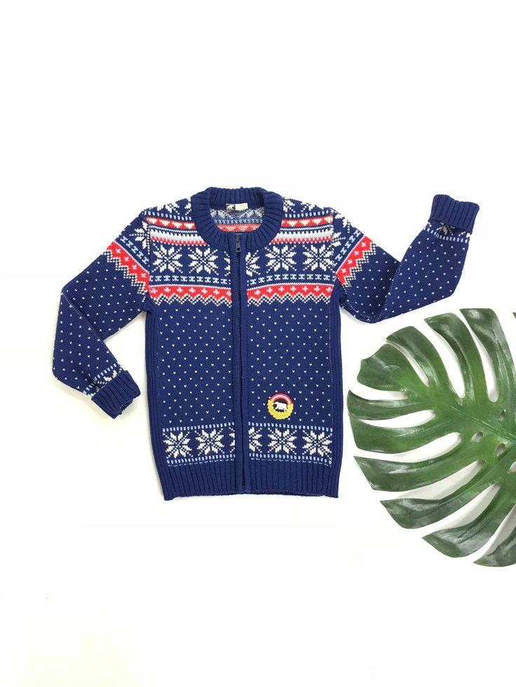 Vintage fair isle wool sweater, zip front cardigan sweater, unisex kids vintage knit sweater, Austrian ski sweater, Eisbar winter jumper by SpacedOutMama on Etsy