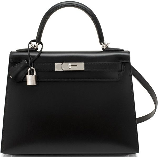 Pre-Owned Hermes Black Box Kelly 28cm Sellier Palladium Hardware X... (6.876.790 HUF) ❤ liked on Polyvore featuring bags, handbags, black, multicolor handbags, multi color purse, colorful handbags, genuine leather purse and leather purses