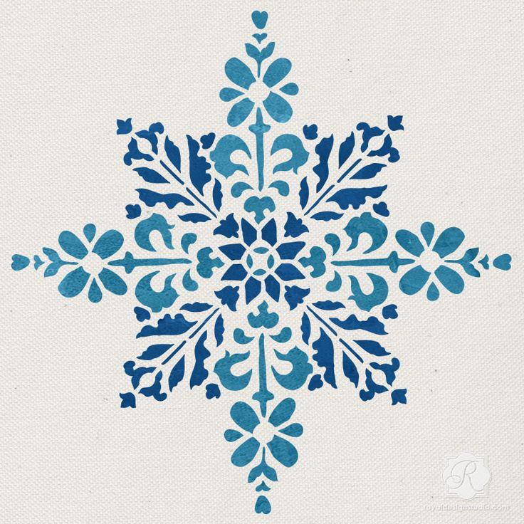 Snowflake Floral Star Tile Furniture Craft Stencils - Christmas Decor | Royal Design Studio