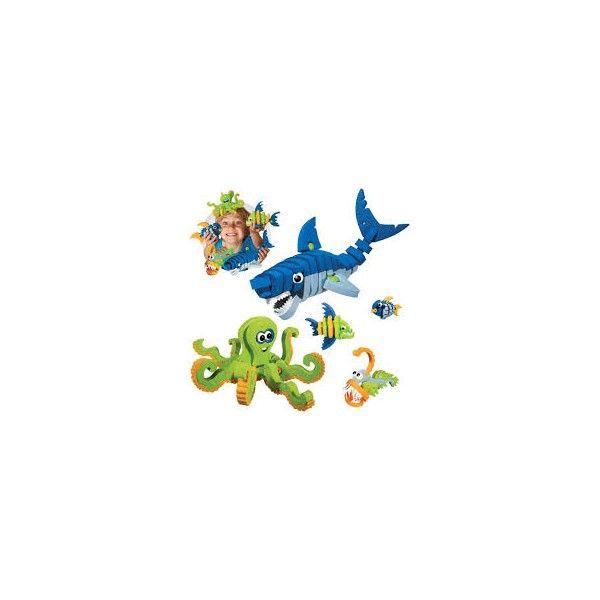 BlocoToys Creature marine da assemblare  Questo modello include pezzi per costruire non meno di sei creature diverse: uno squalo bianco, una piovra, un piranha affamato, un pesce tropicale e il pesce degli abissi! Grazie ai suoi colori e temi, questo set potrebbe essere considerato non solo come un giocattolo, ma anche come elemento di arredo!