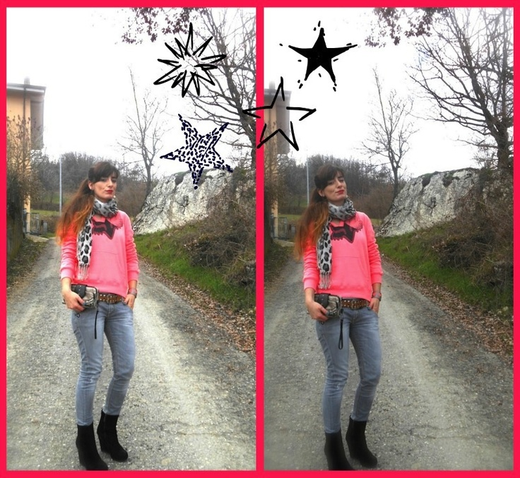 idea outfit felpa corallo fluo e jeans skinny, fox freestyle xtreme, look felpe e denim fashion blog, neongeo bracciali colorati, amanda marzolini, the fashionamy blog, style ideas