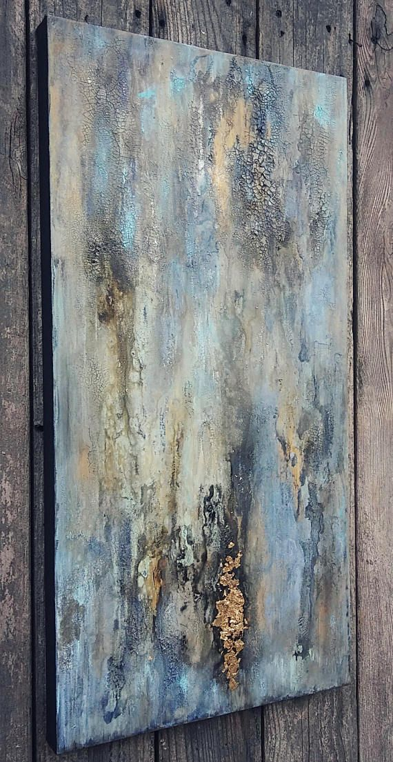 Original Rustic Texture Abstract Art Gold Leaf and Turquoise Blue