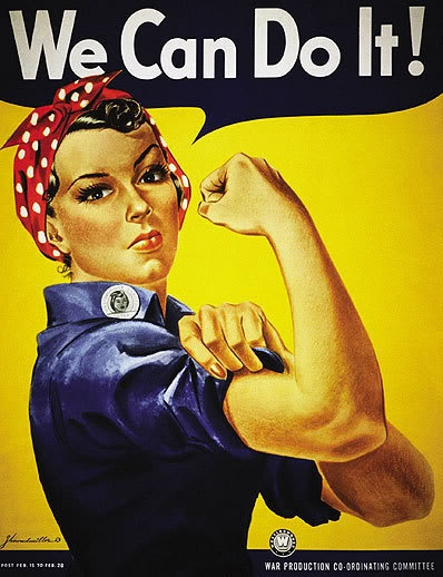 Rosie the Riveter, the patron saint of women who worked in the factories of wartime America, symbolizes female empowerment and economic sovereignty!