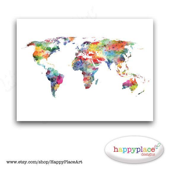 Opzioni di mappa enorme mondo personalizzato  di HappyPlaceArt, $15.00