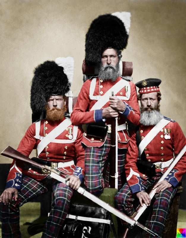 Nobel, Dawson and Harper of the 72nd (Duke of Albany's Own Highlanders) Regiment of Foot, July 1856. All three wear the Crimea Medal, and the man on the right also wears the Turkish Crimea Medal.     The 72nd Highlanders arrived in the Crimea from Malta just in time to take part in the latter stages of the siege of Sevastopol. (orig.  pinner comment)