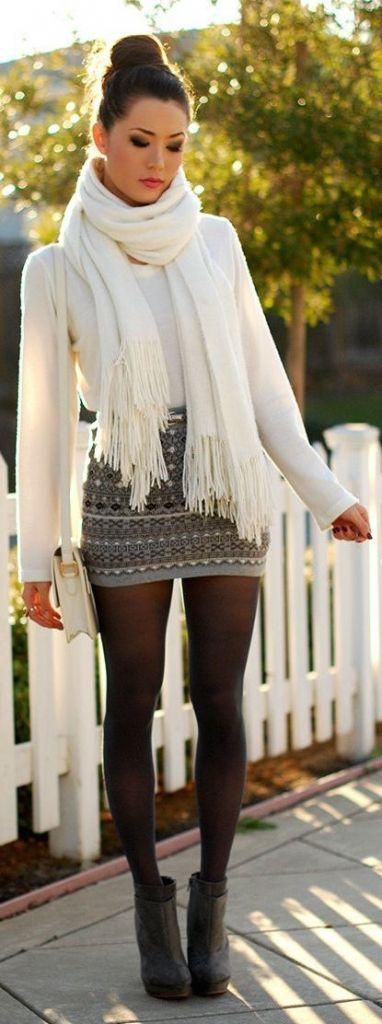 #fall #fashion / white knit layers