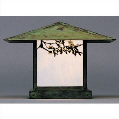 """Arroyo Craftsman MC-F Monterey Outdoor Column Mount Lantern with Filigree by Arroyo Craftsman. $417.70. Arroyo Craftsman MC-F Features: -Monterey collection. -Available in several finishes. -Available in several shade colors. -Available filigree in Hummingbird, Pine Needle and Sycamore. -UL listed. -Suitable in wet location. Specifications: -Accommodates: 1 x 100W A 19 incandescent bulb. -Available sizes:. -36"""" Overall dimensions: 17"""" H x 36"""" W. -Mounting base: 13.38"""". -30"""" Ove..."""