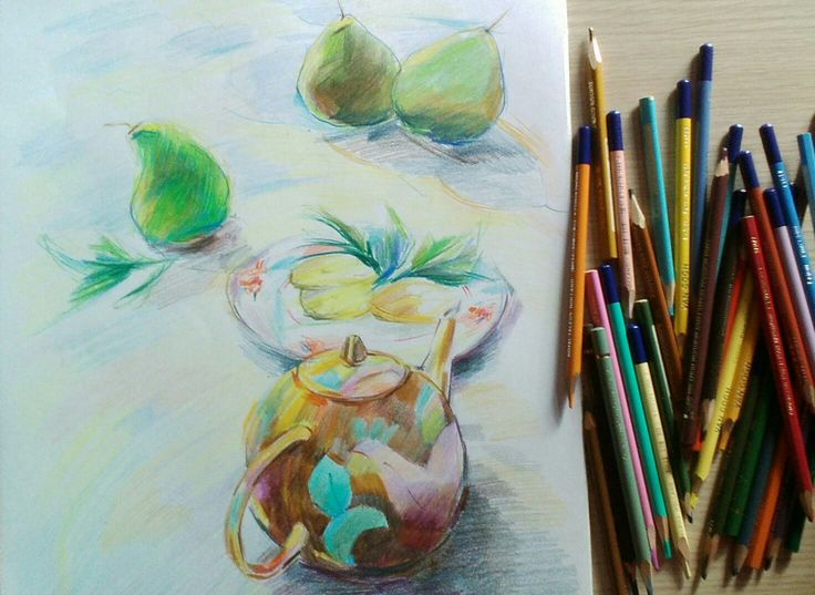 """Tea time"". 2017. Colored pencils/paper"