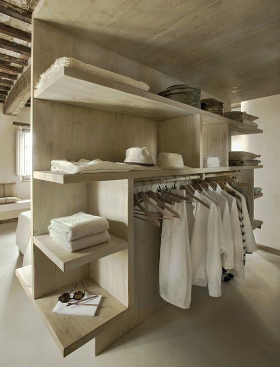 Open but hidden closet, I prefer a more traditional feel and would need a much larger space but <3 the concept