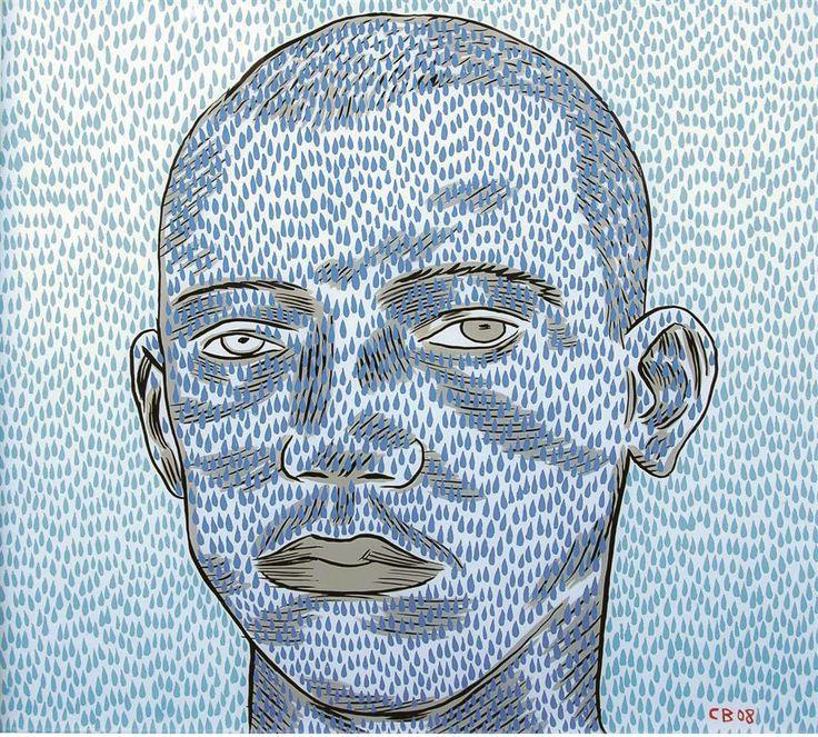 Conrad Botes se Blue Face, 2008, olie op omgekeerde glas (60 x 60 cm)