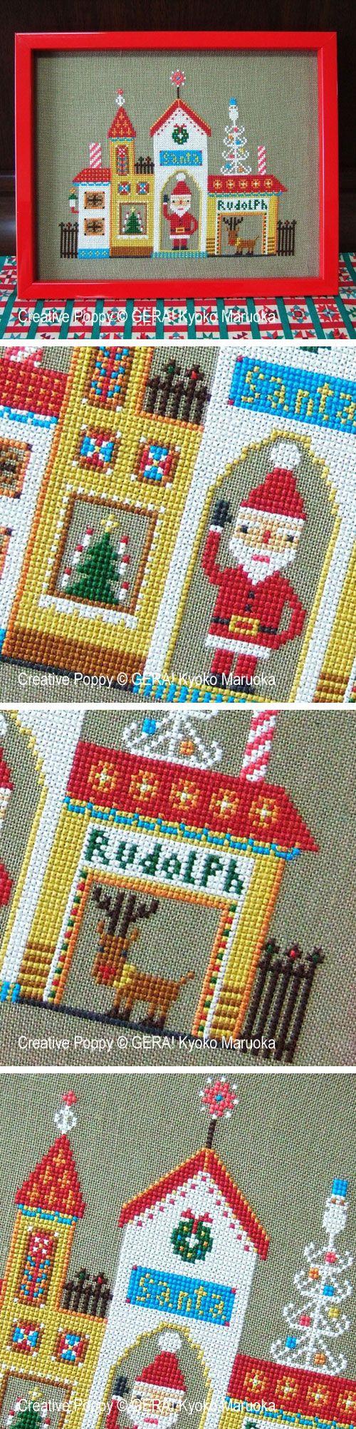 Adorable Christmas cross stitch pattern by Japanese designer Gera! #crossstitch #diychristmas #handmadeholiday