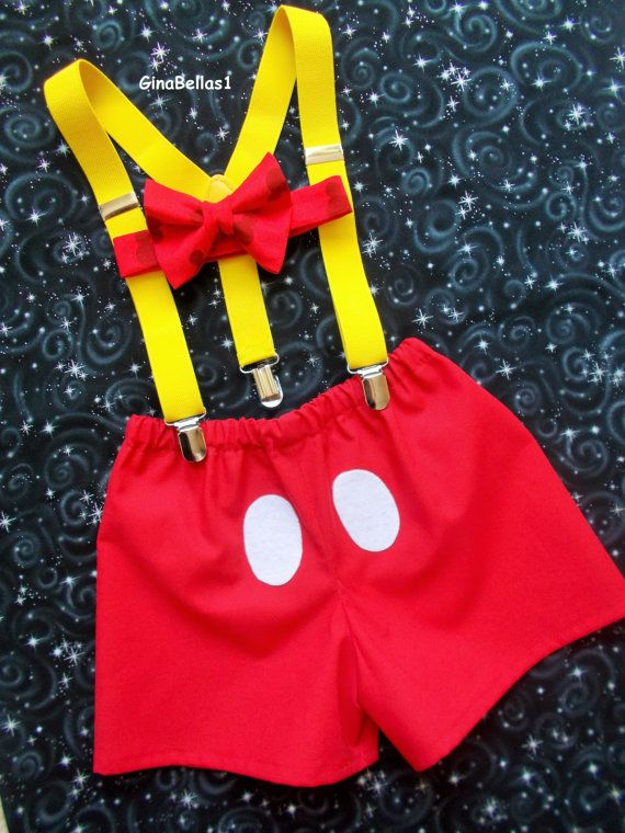 Mickey Mouse Birthday cake smash outfit suspenders by GinaBellas1