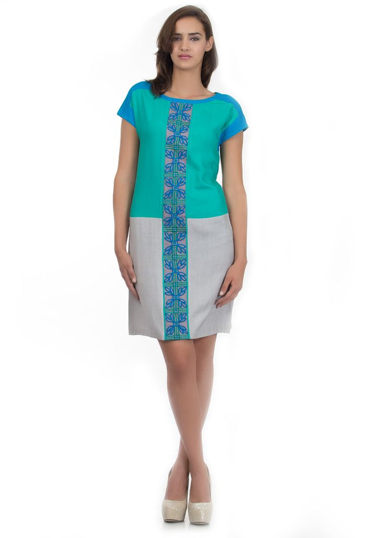 Color Block Shift Dress -> - Cotton Rayon - Boat Neck Colour Block Dress with Extended Sleeves - Emboidery on Front Panels - Dry Clean  Order Now : http://www.rinkusobti.com/clothing/color-block-shift-dress