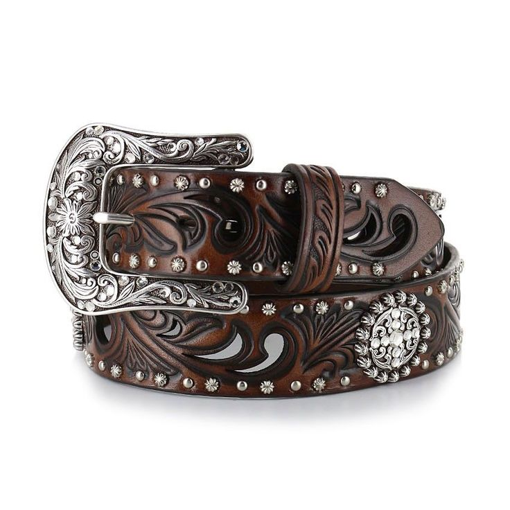 Ariat® Womens Brown Belt with Crystal Conchos and Studs [A1518602]